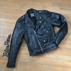 Vintage distressed leather moto jacket